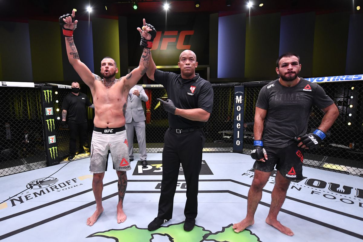 Daniel Rodriguez celebrates after his decision victory over Gabe Green in their welterweight fight during the UFC Fight Night event at UFC APEX on May 30, 2020 in Las Vegas, Nevada.