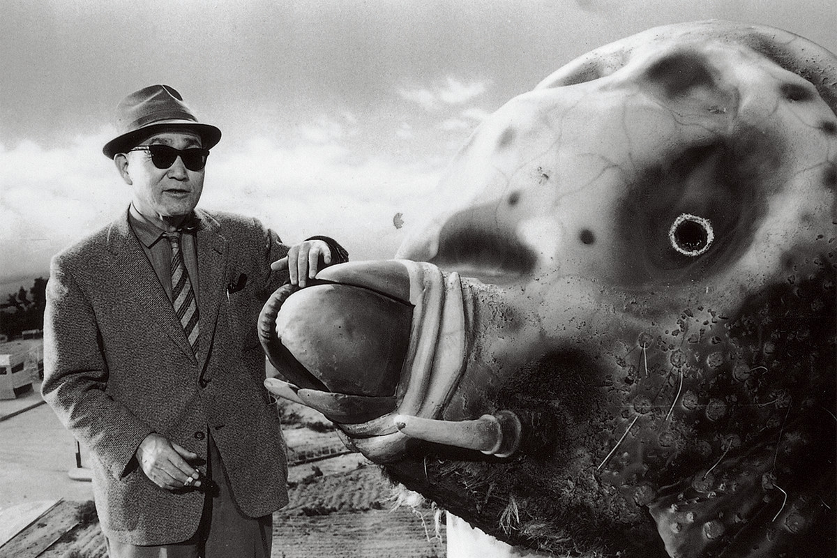 Tsuburaya with a costme from 1961's Mothra.