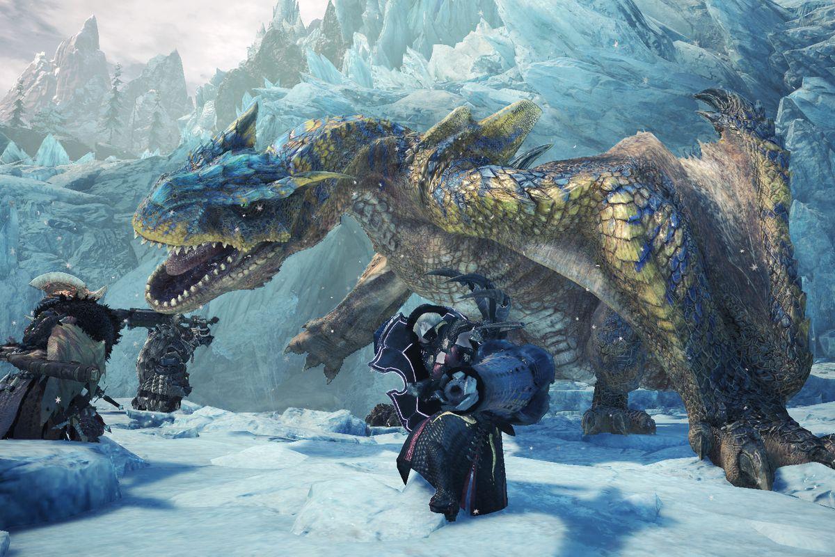Players battle a Tigrex in a screenshot from Monster Hunter World Iceborne
