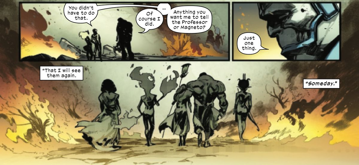 """Anything you want me to tell the Professor or Magneto?"" Cyclops asks. ""Just one thing,"" replies Apocalypse, before walking off with his strange mutant family, ""That I will see them again. Someday."" in X of Swords: Destruction #1, Marvel Comics (2020)."