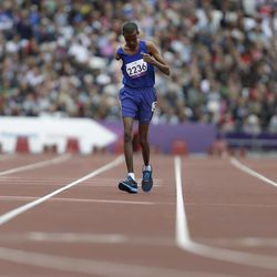Djibouti's Houssein Omar Hassan races during a men's 1500m T46 round 1 race at the 2012 Paralympics in London, Saturday, Sept. 1, 2012.