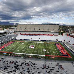 Arizona Stadium  in Tucson is ready for the University of Utah and the University of Arizona to meet iin Tucson, Arizona, on Friday, Sept. 22, 2017. Utah beat Arizona 30-24.