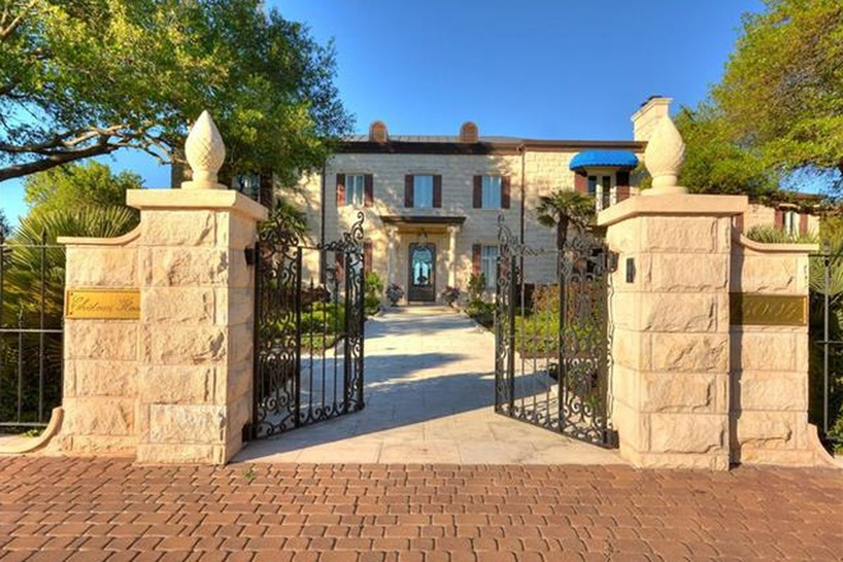 stately limestone entrance to a mansion