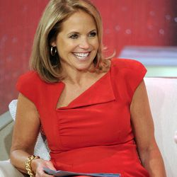 """This Aug. 9, 2012 photo released by Disney-ABC Domestic Television shows host Katie Couric during a taping of her new talk show """"Katie."""" Couric's new show will debut on Monday, Sept. 10."""