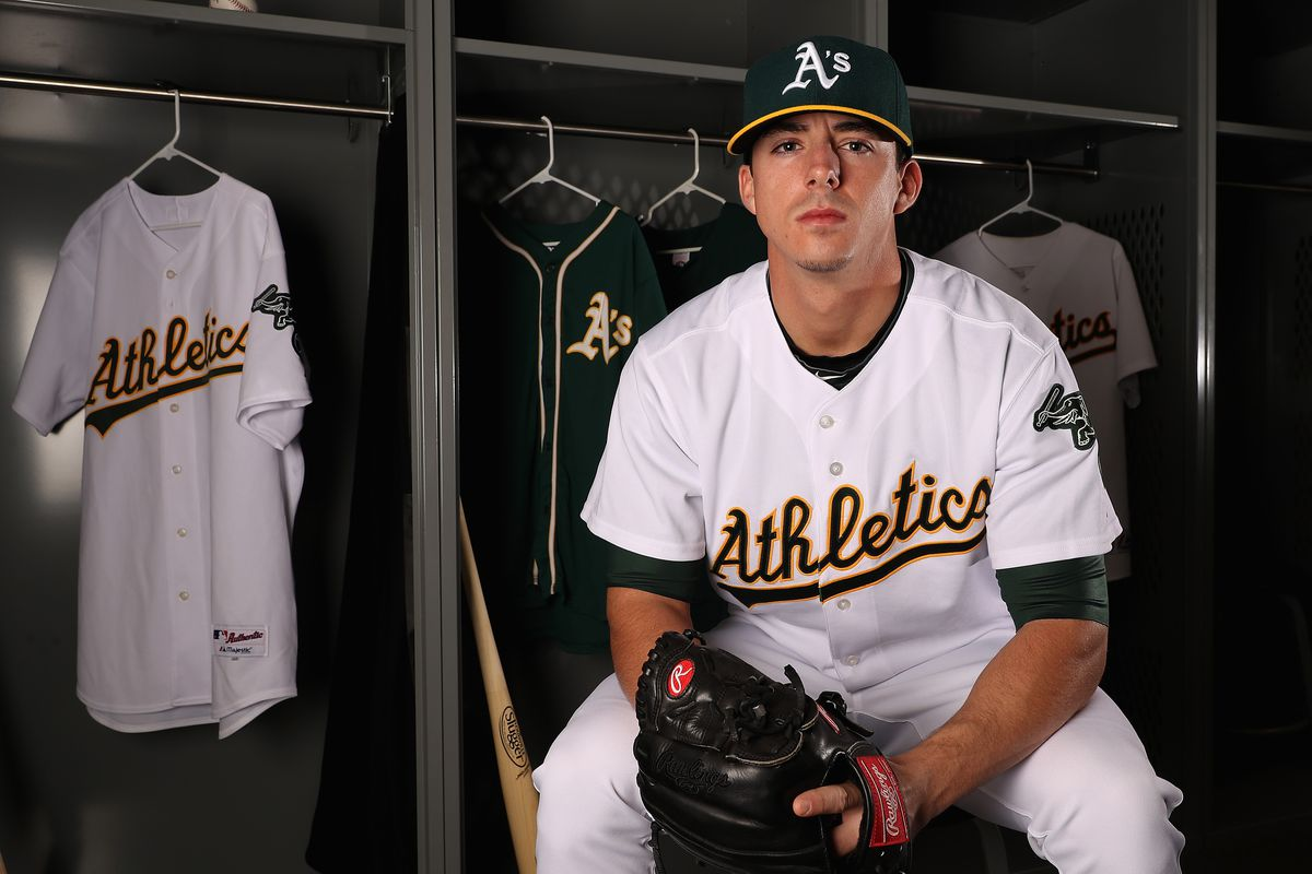 MESA, AZ - FEBRUARY 22:  Pitcher Heath Fillmyer #77 of the Oakland Athletics poses for a portrait during photo day at HoHoKam Stadium on February 22, 2017 in Mesa, Arizona.  (Photo by Christian Petersen/Getty Images)