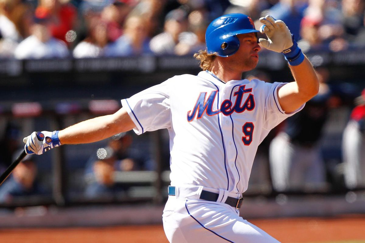 Apr. 7, 2012; Flushing, NY, USA; New York Mets center fielder Kirk Nieuwenhuis (9) gets an infield hit during the fourth inning against the Atlanta Braves at Citi Field. Debby Wong-US PRESSWIRE