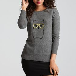 """<b>Aqua</b> Cashmere Sweater Owl Crewneck in banker's grey/black/saffron, <a href=""""http://www1.bloomingdales.com/shop/product/aqua-cashmere-sweater-owl-crewneck?ID=627877&CategoryID=12629&LinkType="""">$188</a> at Bloomingdale's"""
