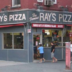 """<b>The Famous Ray's Pizza</b>:  Famous for being better than Famous Original Ray's. Confusing, but true. (<a href=""""http://www.eatingwithgeorge.com/2007/11/famous-rays-of-greenwich-village.html"""" rel=""""nofollow"""">photo</a>)"""