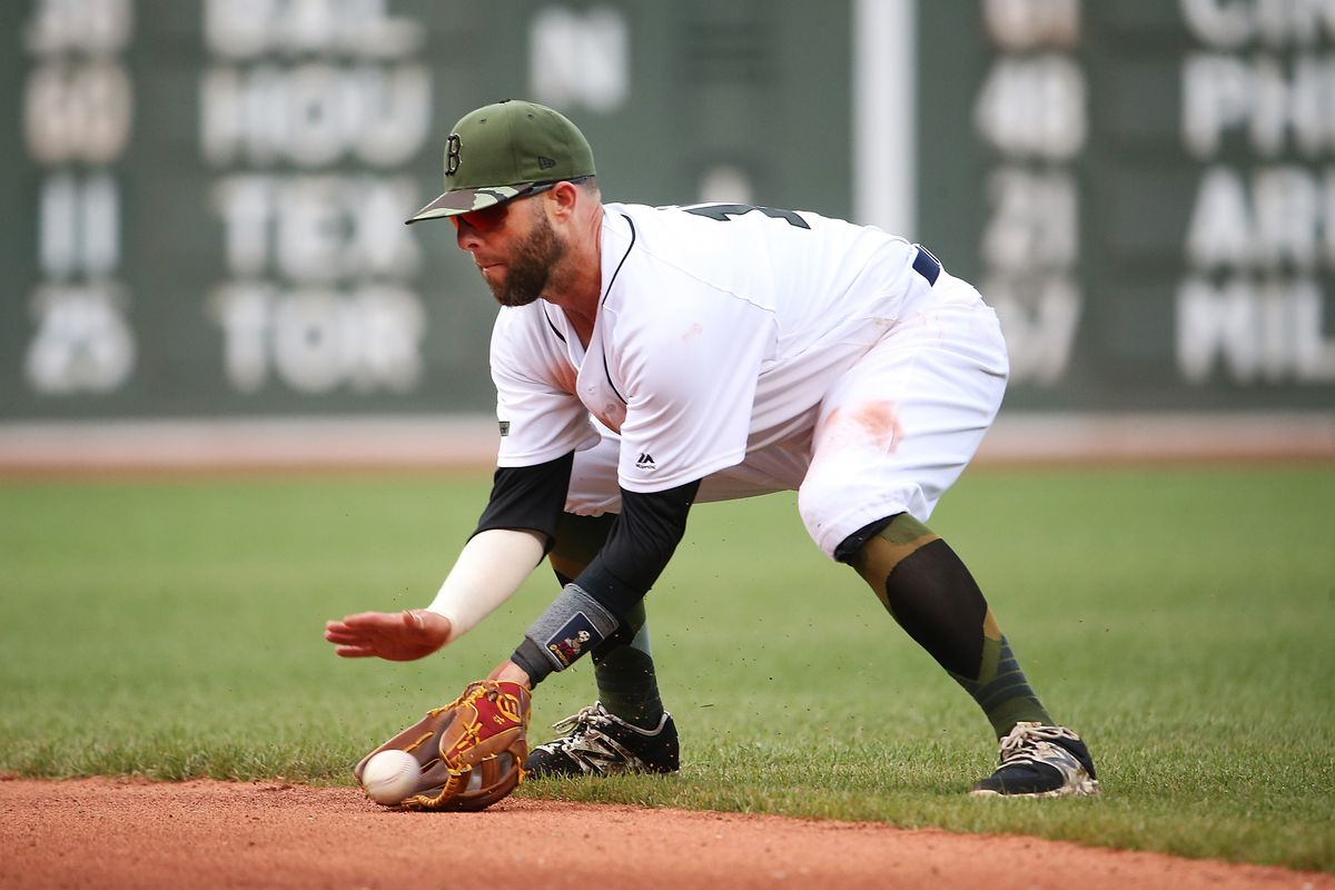 Red Sox 2B Dustin Pedroia departs with sprained left wrist