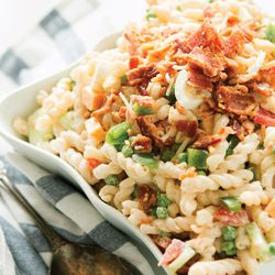 """Pea Pasta Salad is from """"Our Sweet Basil Kitchen"""" is Cade and Carrian Cheney."""