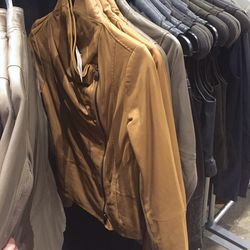 Tan leather jacket, $279 (was $995)