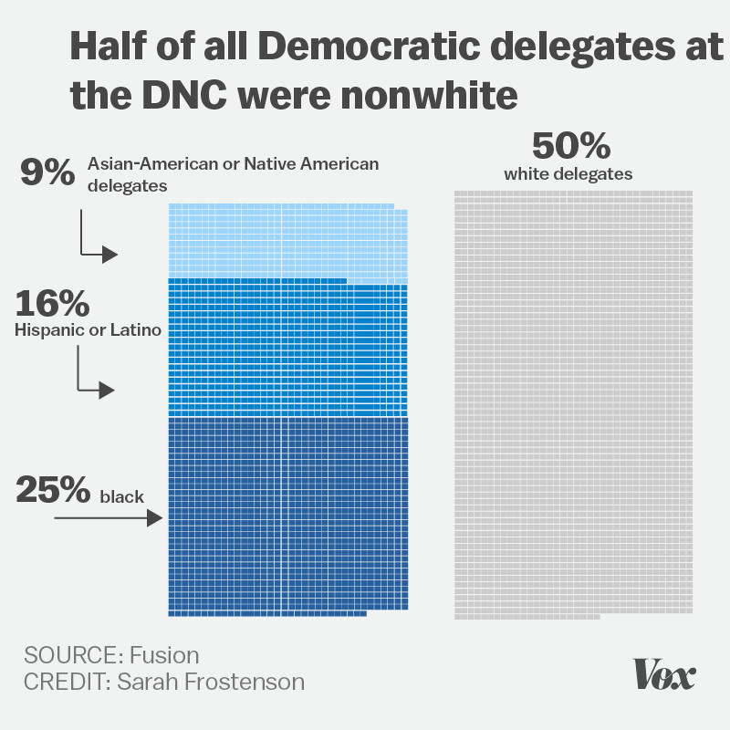 Chart showing the ethnic and racial breakdown of DNC candidates