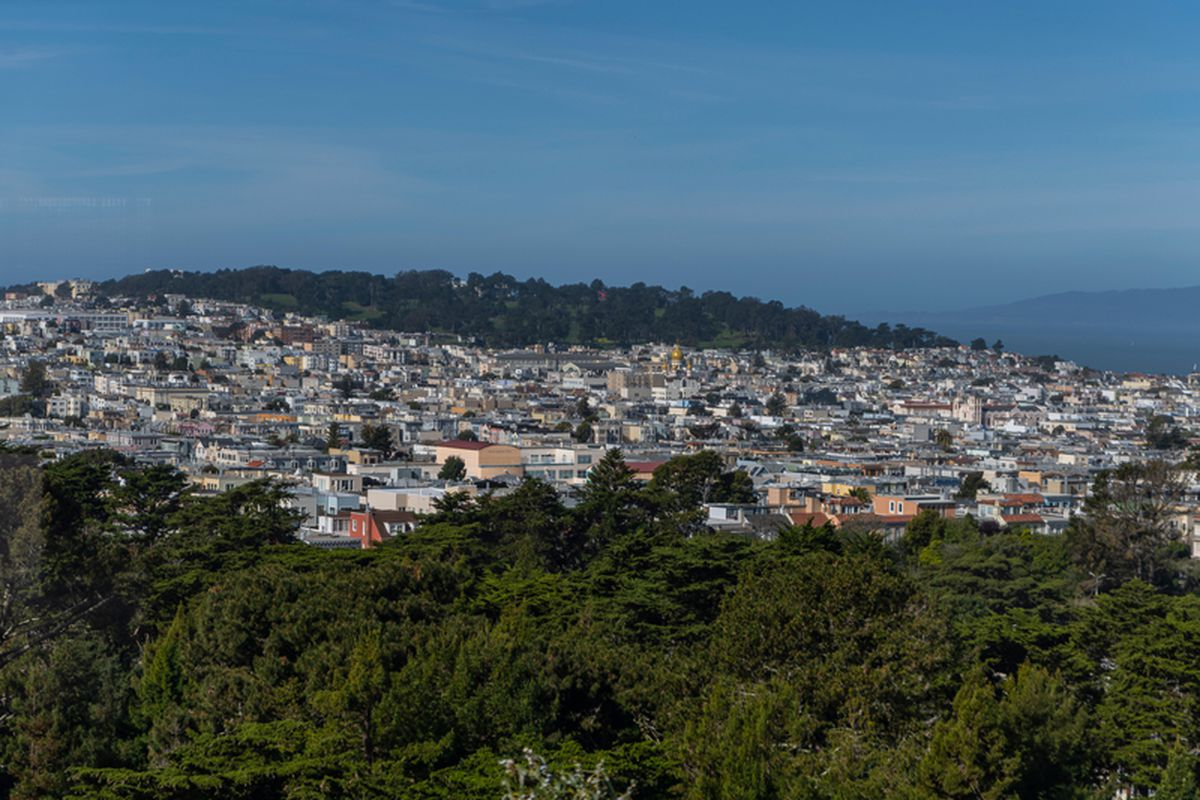 An aerial photo of rooftops in SF, with a line of trees visible in the foreground and a forested hilltop in the distance.