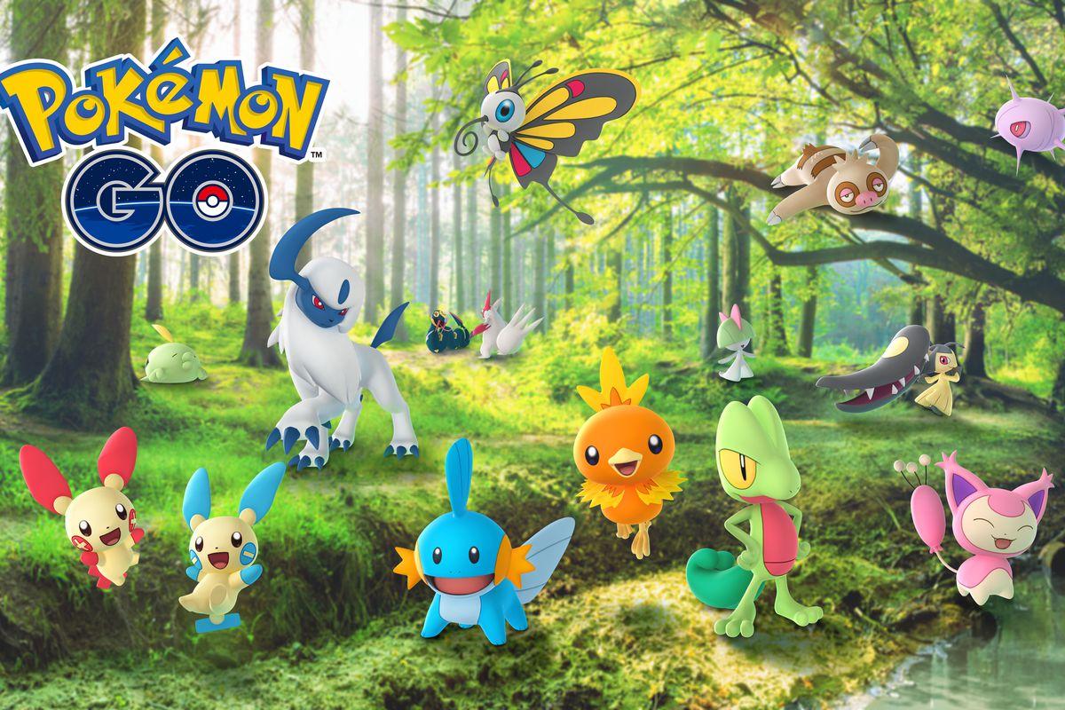 A handful of Hoenn region Pokémon gather in a forest