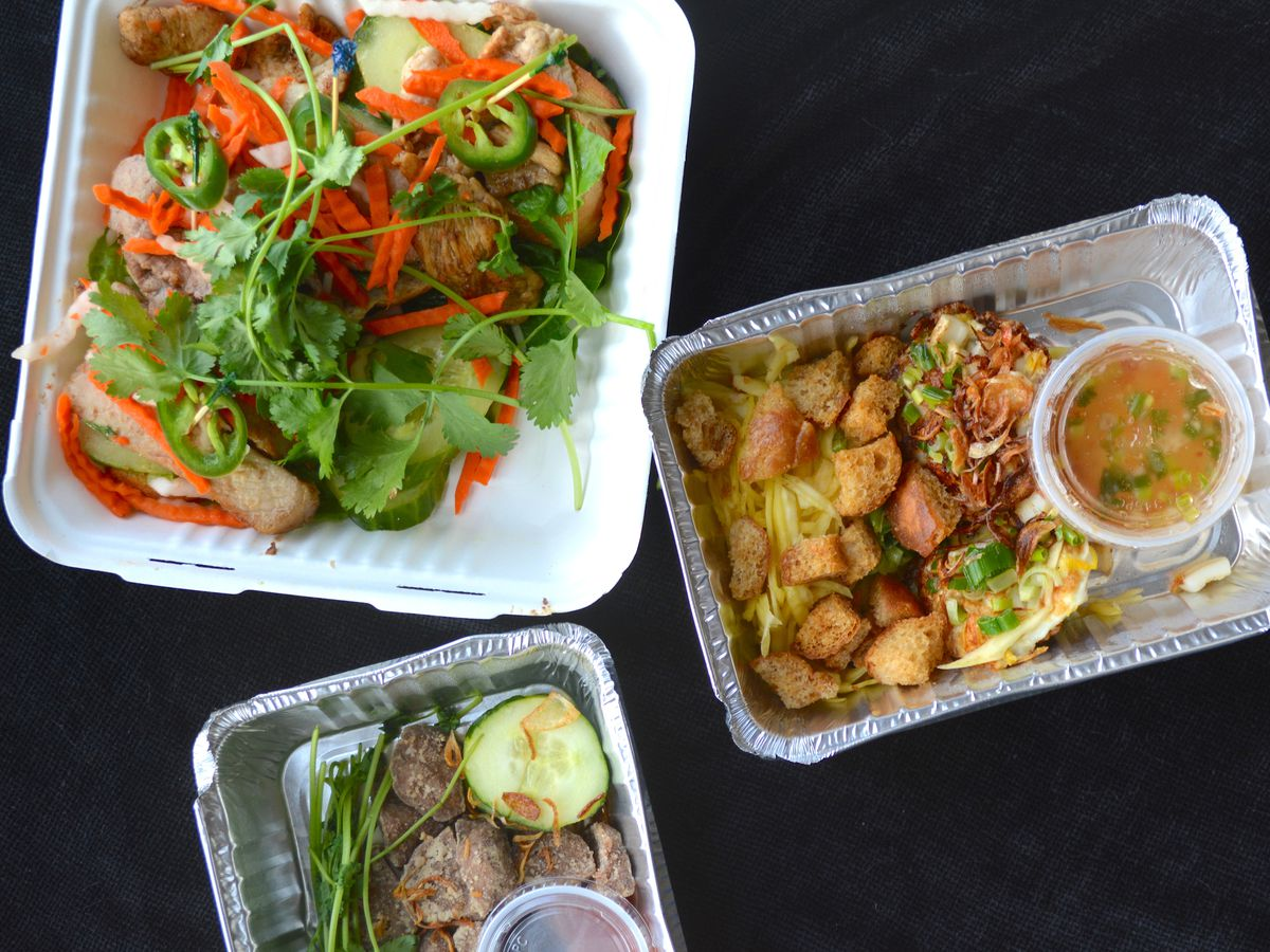 Vietnamese appetizers in takeout containers