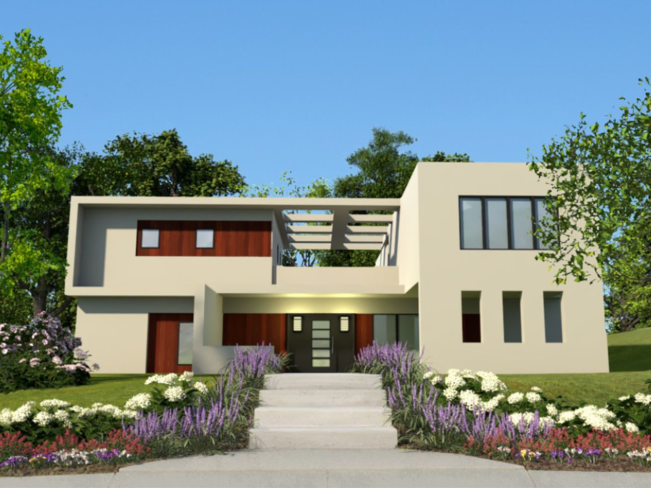 A modern home design on Higharc, a new program being developed that allows homebuilders to customize their home designs.