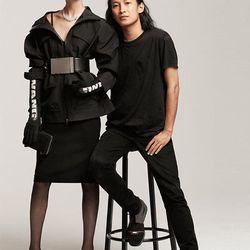 Utility jacket, $199; Polyamide gloves, $30; Leather belt, $80, all Alexander Wang x H&M. Image via Elle.