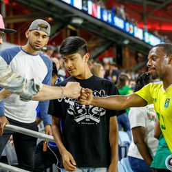 June 18, 2019 - Saint Paul, Minnesota, United States - Guyana defender Anthony Jeffery (23) interacts with fans after falling to the USA 4-0 in the first found of The Gold Cup at Allianz Field. .