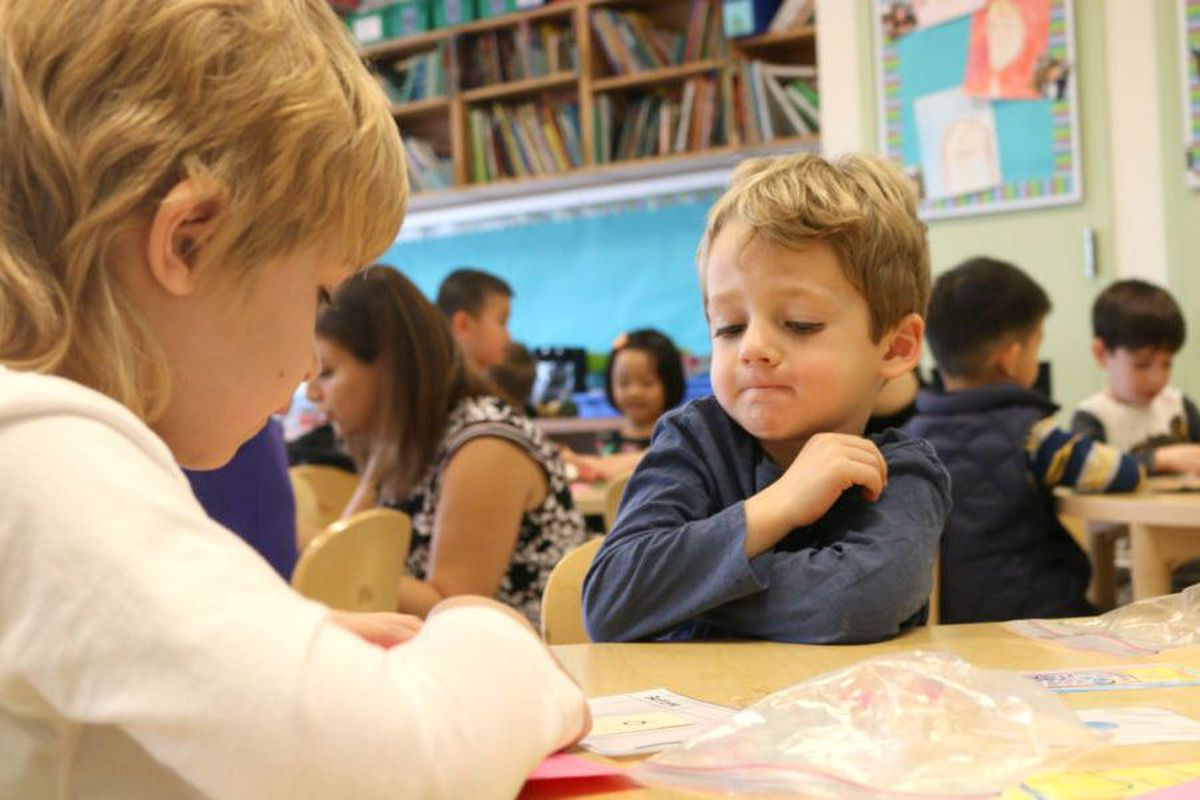 Kindergarten students at the Brooklyn School of Inquiry, a citywide gifted and talented program.