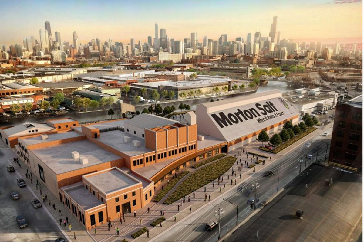 A rendering of the planned office and entertainment complex at the former Morton Salt property, 1357 N. Elston Ave.