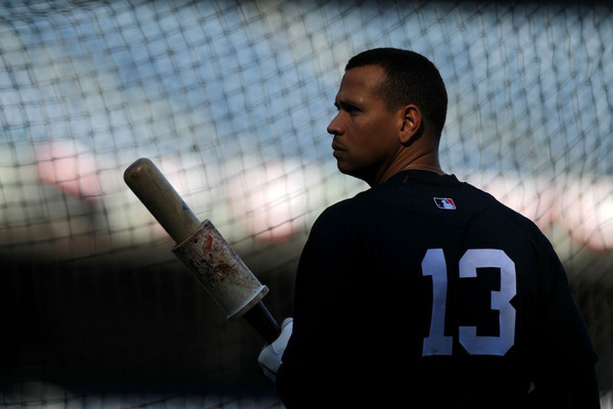 NEW YORK - OCTOBER 13: Alex Rodriguez #13 of the New York Yankees waits to bat during a workout session at Yankee Stadium on October 13 2010 in the Bronx borough of New York City.  (Photo by Nick Laham/Getty Images)