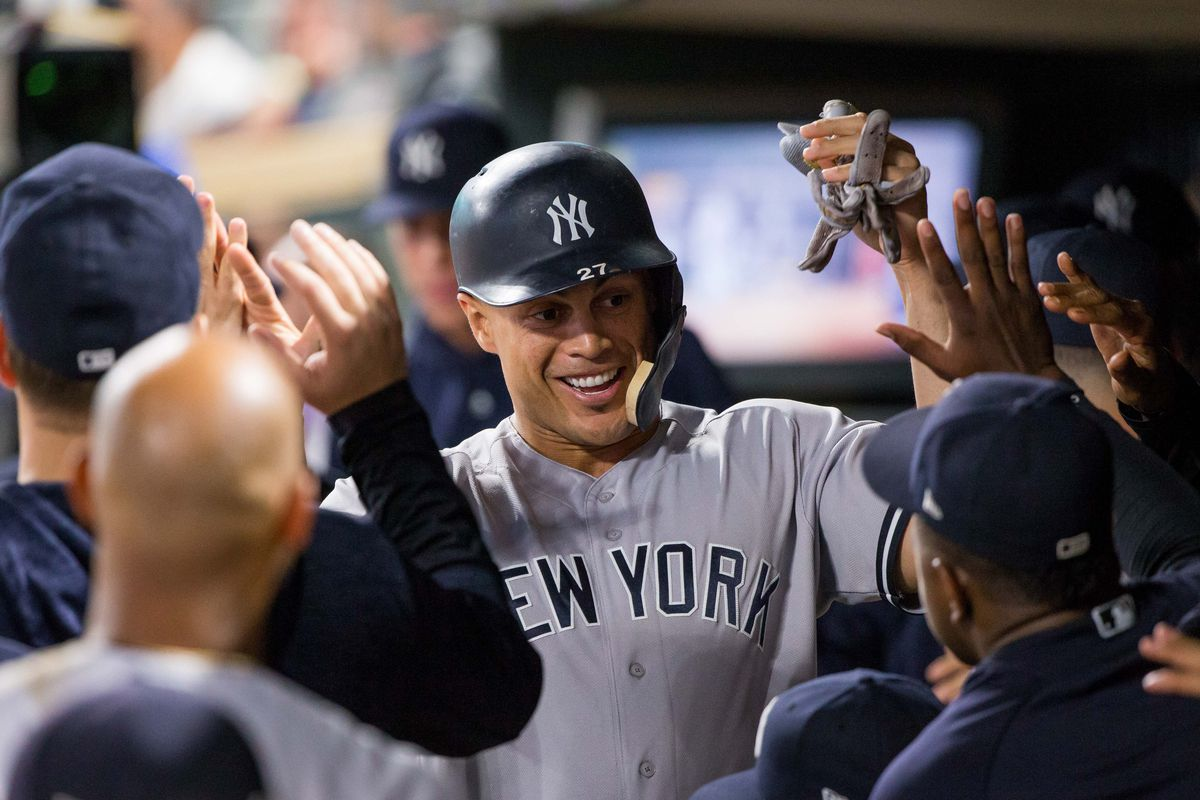 Giancarlo Stanton leads the Yankees with 34 home runs.
