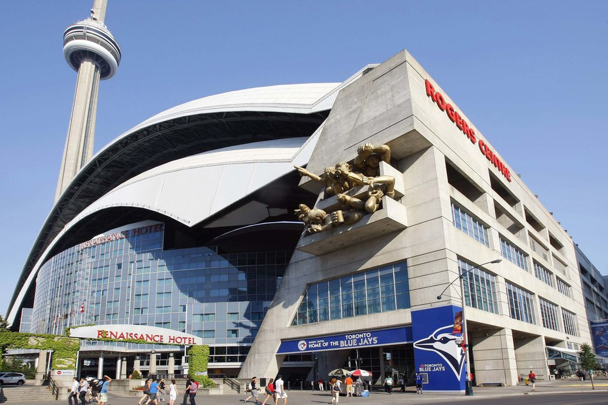 June 28, 2012; Toronto, ON, CANADA; An exterior of the Rogers Centre prior to a game between the Los Angeles Angels and the Toronto Blue Jays.  Mandatory Credit: John E. Sokolowski-US PRESSWIRE