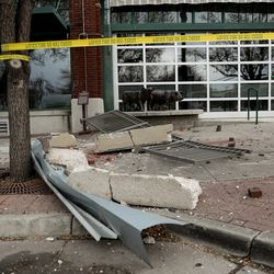 Debris lays on the ground outside of Cucina Toscana in Salt Lake City after a 5.7 magnitude earthquake centered in Magna hit early on Wednesday, March 18, 2020.