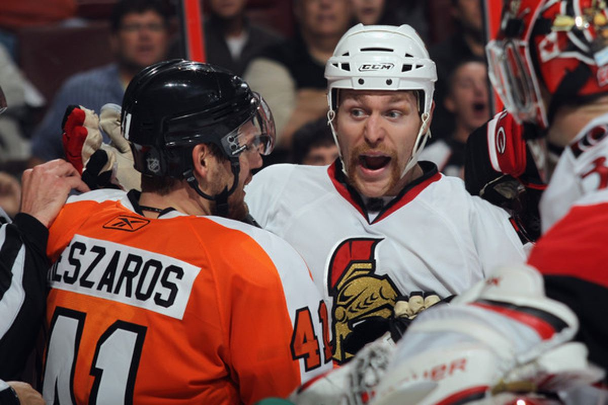 Unfortunately, Carkner's effectiveness will always be limited by his ticklishness. (Photo by Bruce Bennett/Getty Images)