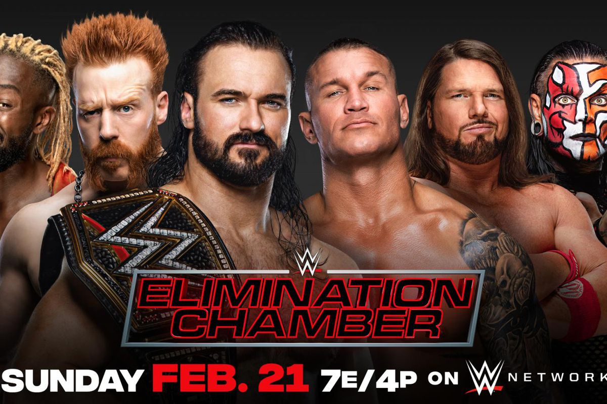 Match graphic for WWE Championship Elimination Chamber Match at Elimination Chamber 2021