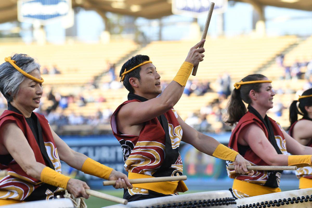 Nothing says baseball like the Kobra Kai marching band.