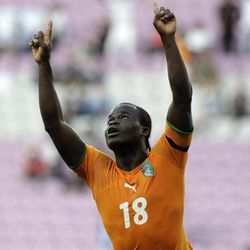 Ivory Coast's Didier Yakonan celebrates his side's goal during an international friendly soccer match between the national soccer teams of Ivory Coast and Israel at the Stade de Geneve stadium in Geneva, Switzerland, Wednesday, Aug. 10, 2011.