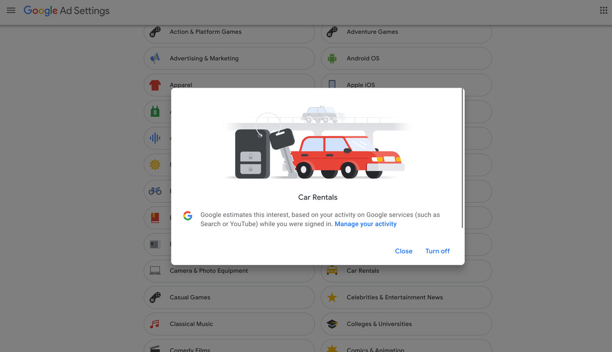 """A screenshot of a user removing the """"car rentals"""" interest from their ad settings."""