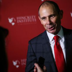 John Curtis talks to reporters after the Republican debate for the 3rd Congressional District race at the Utah Valley Convention Center in Provo on Friday, July 28, 2017.