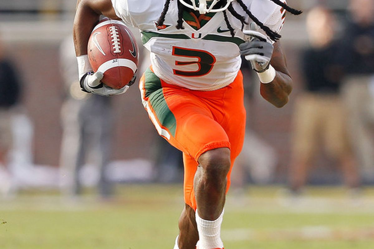 TALLAHASSEE, FL - NOVEMBER 12:  Travis Benjamin #3 of the Miami Hurricanes rushes during a game  against the Florida State Seminoles at Doak Campbell Stadium on November 12, 2011 in Tallahassee, Florida.  (Photo by Mike Ehrmann/Getty Images)