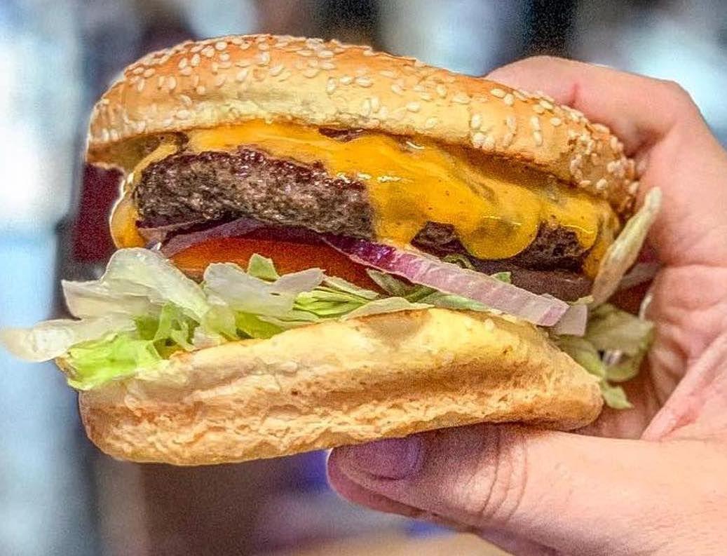 Burger at Hinano Cafe
