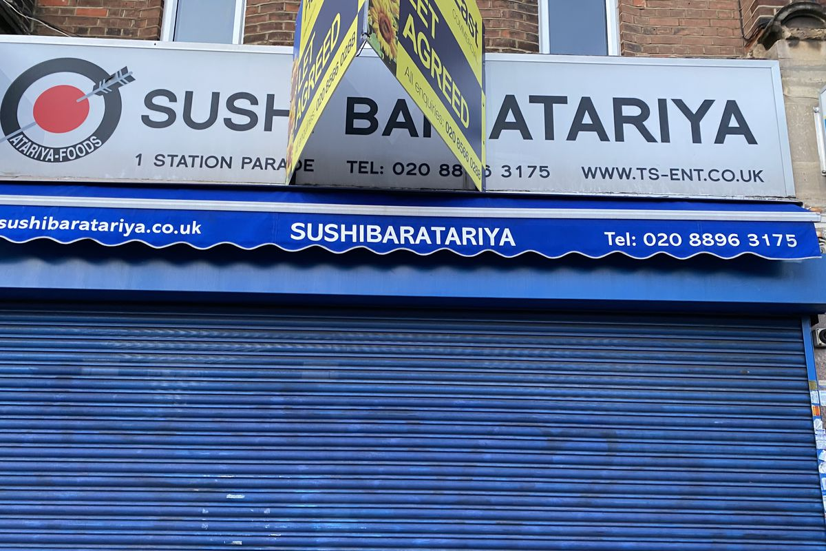 Sushi bar Atari-Ya in Ealing Common, with blue shutters up and a let agreed sign on top of the branding