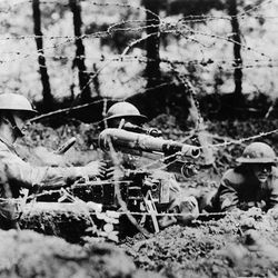 In this undated photo, members of the U.S. 126th Infantry fight in a trench in France during World War I. The Great War has almost passed from living memory, as obituaries have been written for the last veterans in Britain, France, Germany and, now, the United States with the death of Frank Buckles at age 110.