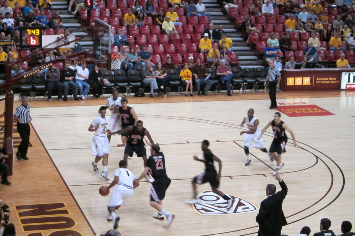 ASU's Corey Hawkins (No. 1) drives to the basket against Gardner-Webb in the first half of the Sun Devils' 71-48 win at Wells Fargo Arena. Photo by Jose Romero, SBN Arizona.