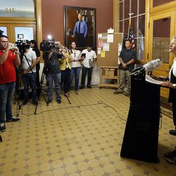 Salt Lake City Police Chief Mike Brown and Mayor Jackie Biskupski and hold a press conference at the City-County Building in Salt Lake City on Friday, Sept. 1, 2017, concerning a University Hospital nurse who was arrested for not allowing a blood draw by a Salt Lake police officer.