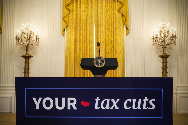 President Trump holds an event celebrating the Republican tax cut plan in the East Room of the White House on June 29, 2018.