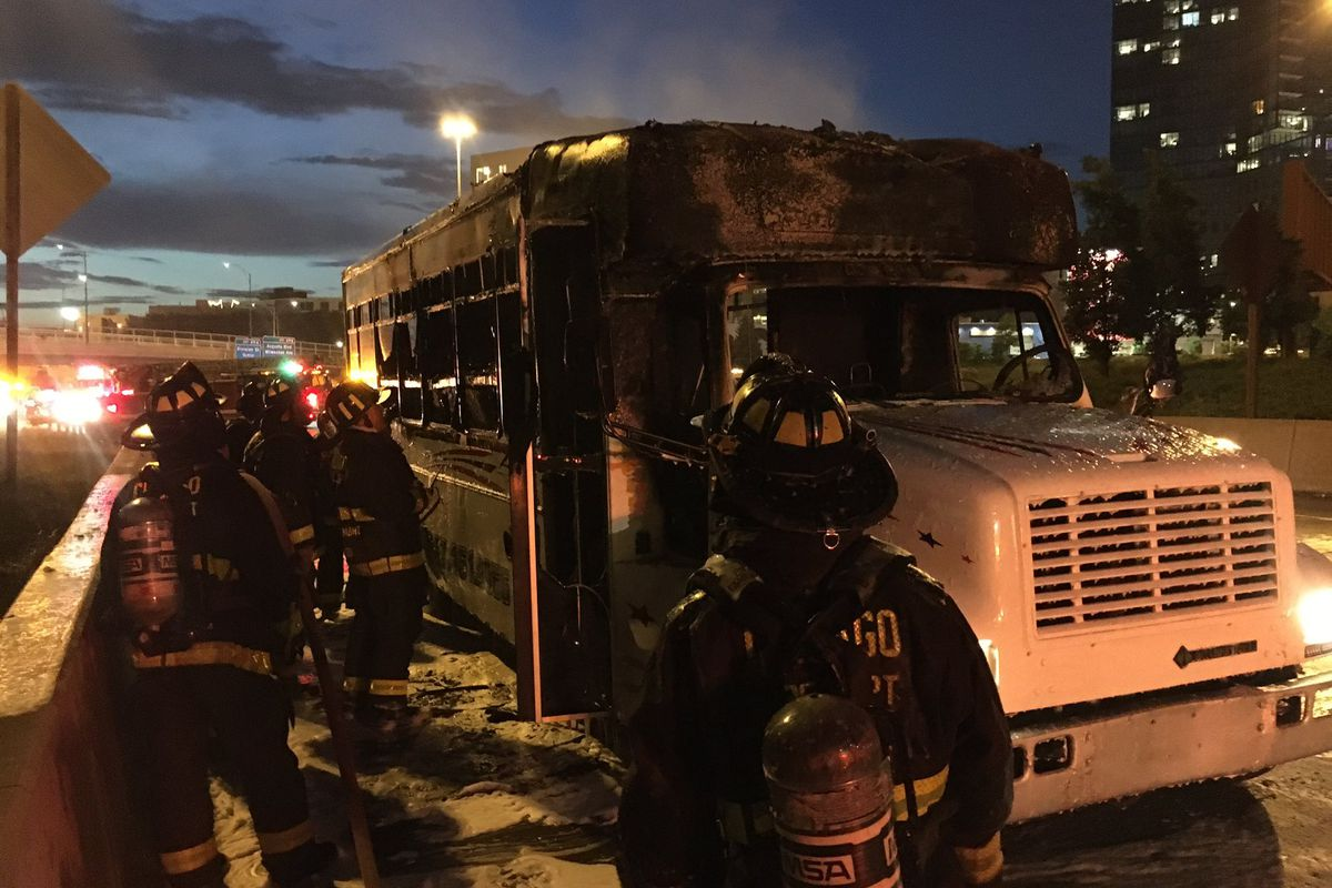 A party bus caught fire June 11, 2021 on the Kennedy Expressway.