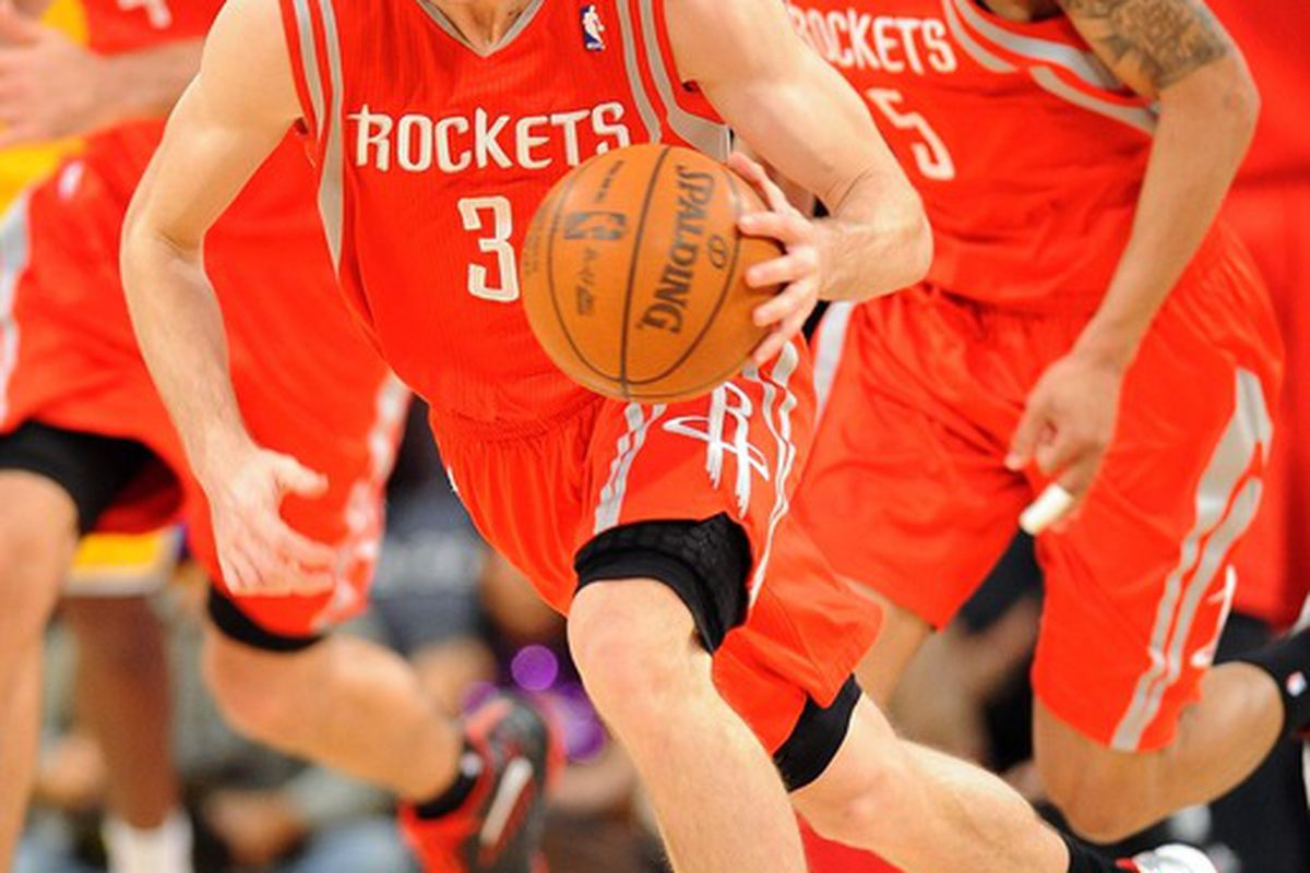 April 6, 2012; Los Angeles, CA, USA;   Houston Rockets point guard Goran Dragic (3) takes the ball down court during the first half of the game against the Los Angeles Lakers at the Staples Center. Mandatory Credit: Jayne Kamin-Oncea-US PRESSWIRE