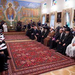Pope Francis meets with Catholic Church leaders in Tbilisi, Georgia, on Sept. 30, 2016. Pope Francis went on a Caucasus pilgrimage that began in June and ended in September.