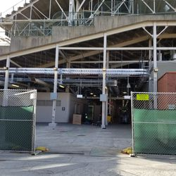 Left field gate area, with the signage removed