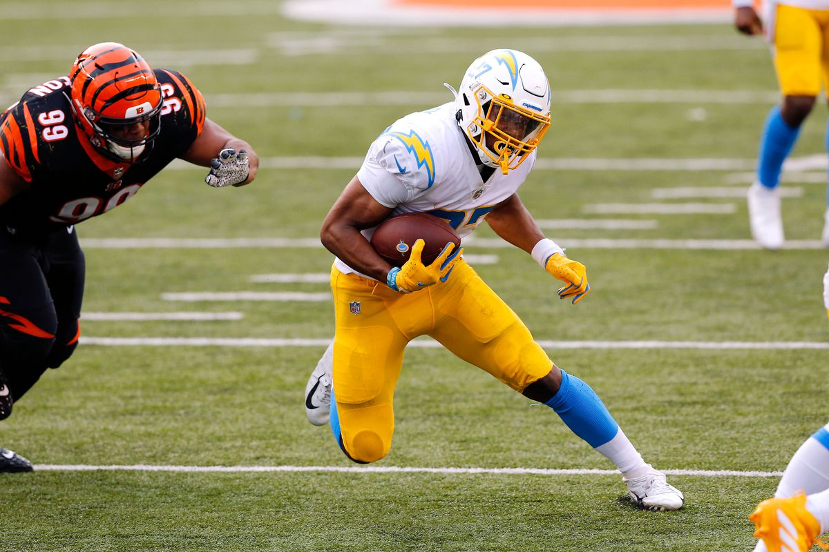 Los Angeles Chargers running back Joshua Kelley runs during the fourth quarter against the Cincinnati Bengals at Paul Brown Stadium.