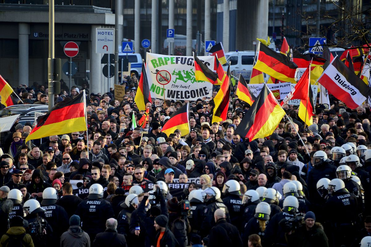 An anti-immigrant rally in Cologne after the attacks.