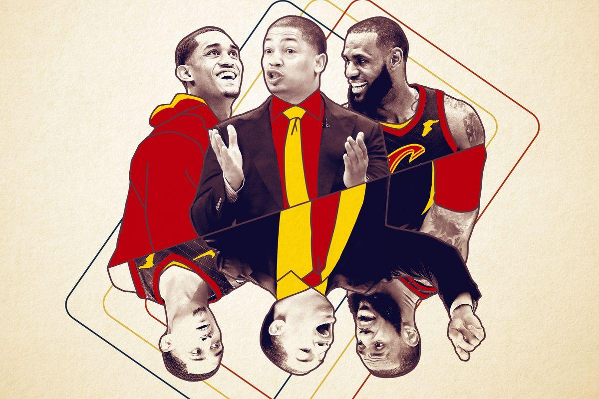 Jordan Clarkson, Tyron Lue, and LeBron James