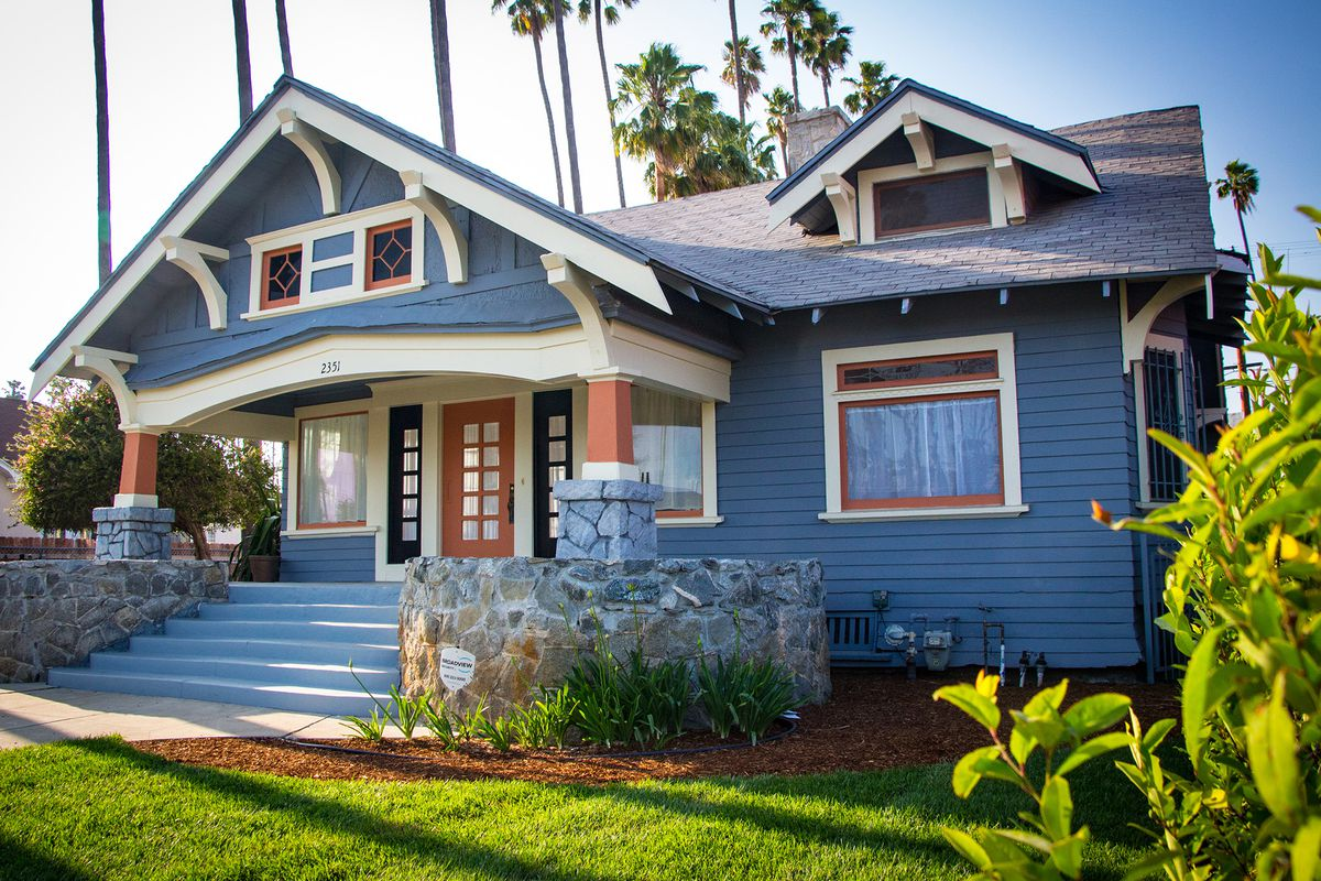 Newly updated—and newly blue—Jefferson Park Craftsman asks ... on unique angled house plans, angled garage house plans, l shaped ranch house plans, angled kitchen, angled one story house plans, angled small house plans, angled fireplaces, angled house plans with porches, angled cottage house plans, angled house floor plans,