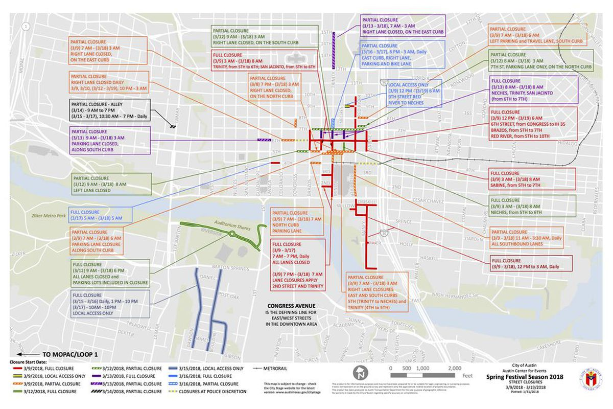 Metro Detroit Traffic Map.Sxsw 2018 Here Is Your Street Closures Map Curbed Austin